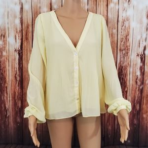 Zara Blouse L Yellow Button Down Long Sleeve